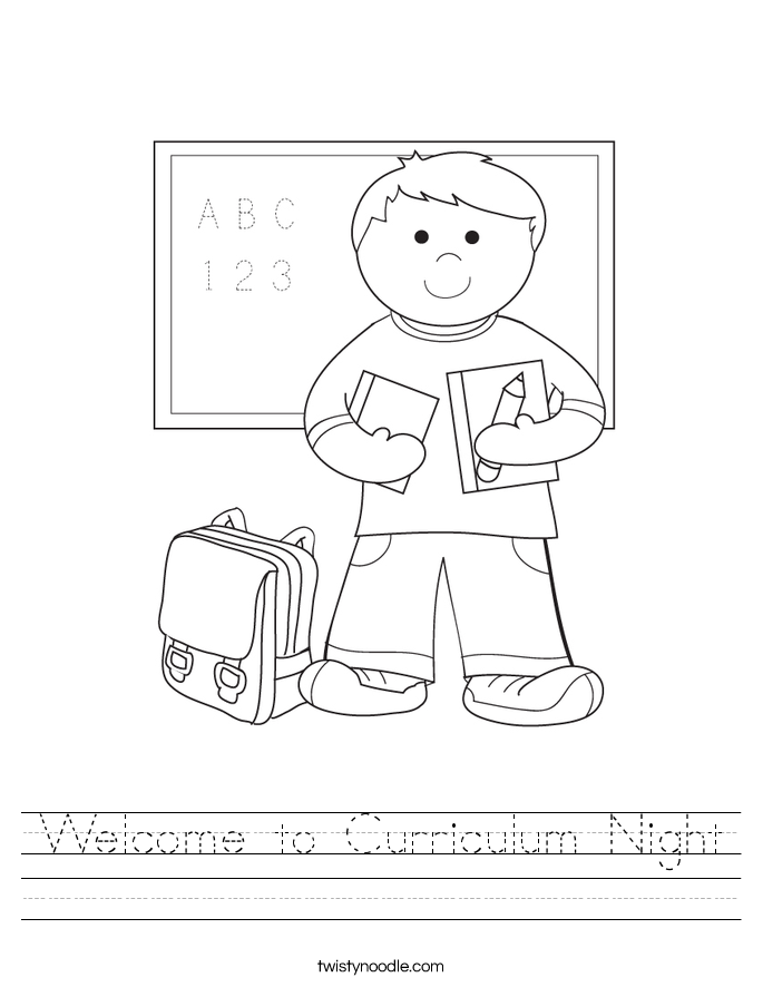 Welcome to Curriculum Night Worksheet