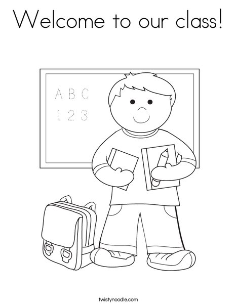 Boy student in school coloring page