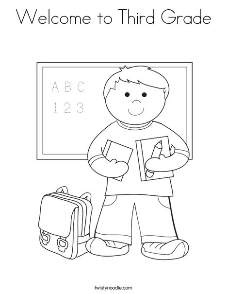 Free boy student in school coloring page with welcome coloring pages