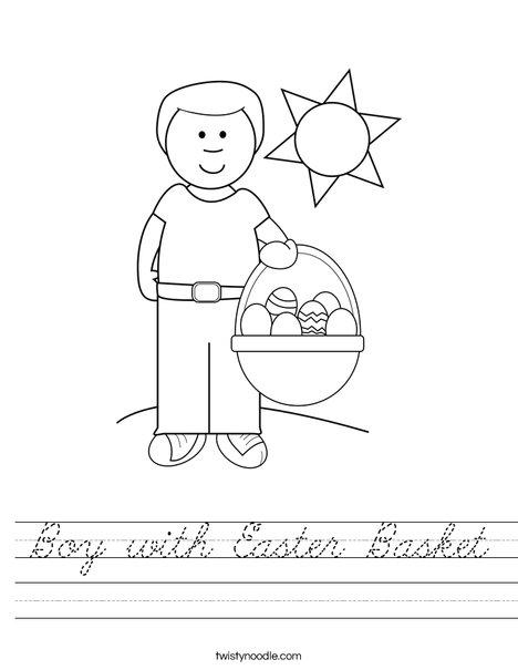 Boy with Easter Basket Worksheet