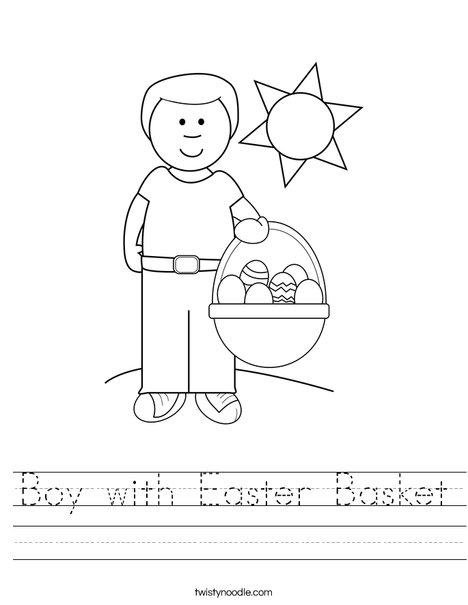 Boy with Easter Basket Worksheet