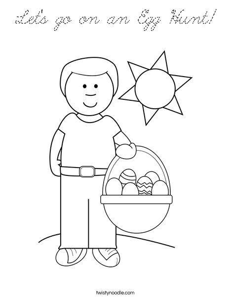 Boy with Easter Basket Coloring Page