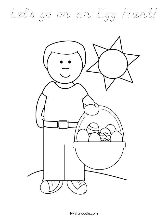 Let's go on an Egg Hunt! Coloring Page
