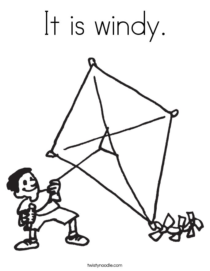 it is windy coloring page - Kite Coloring Page