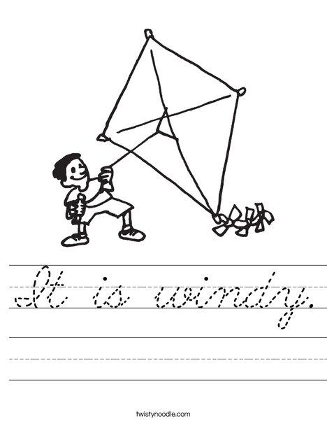 Boy with Kite Worksheet