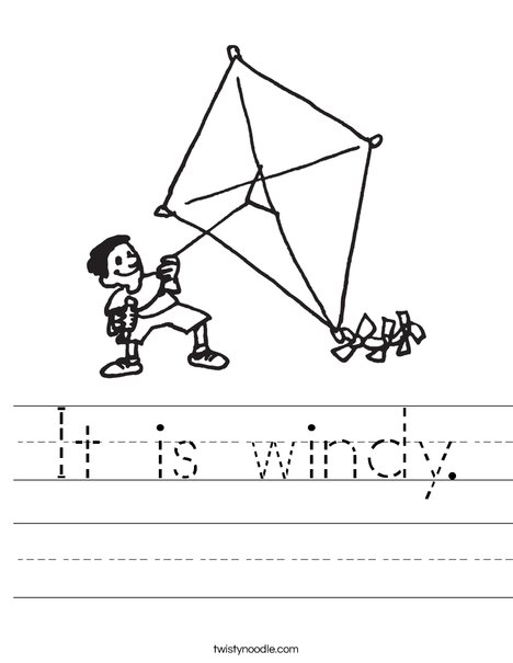 Boy with Kite Worksheet