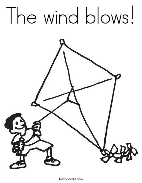 Boy with Kite Coloring Page