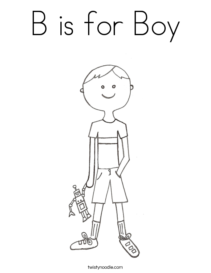 B is for Boy Coloring Page Twisty