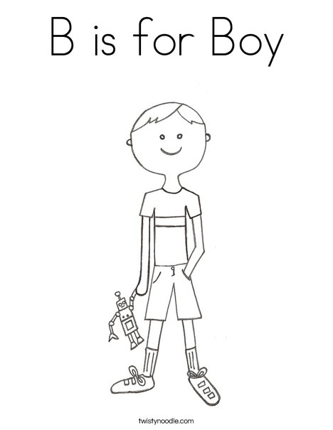 B is for Boy Coloring Page