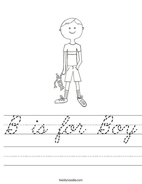 B is for Boy Worksheet