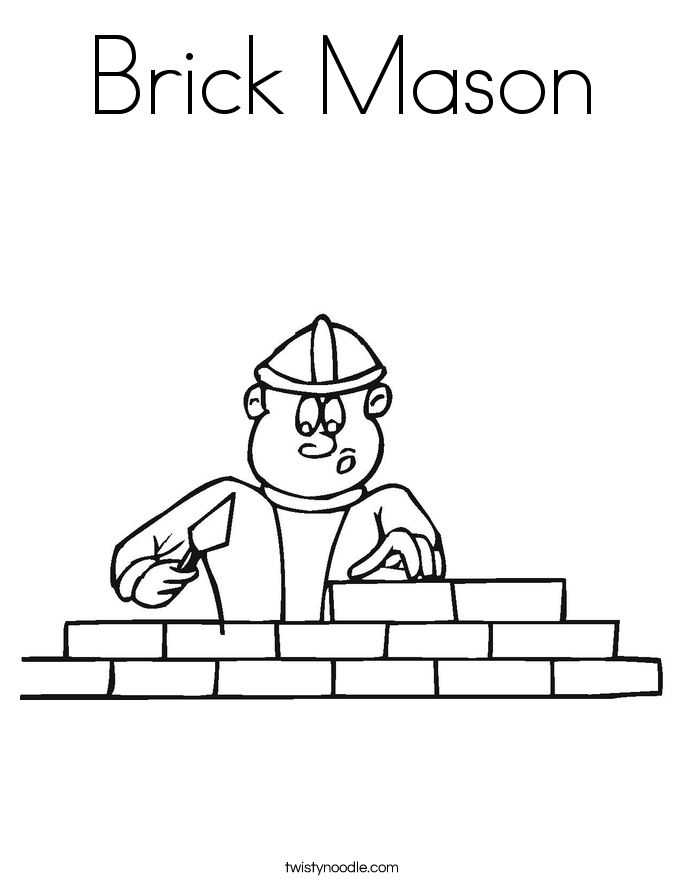 Brick Mason Coloring Page Twisty Noodle