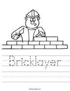 Bricklayer Handwriting Sheet