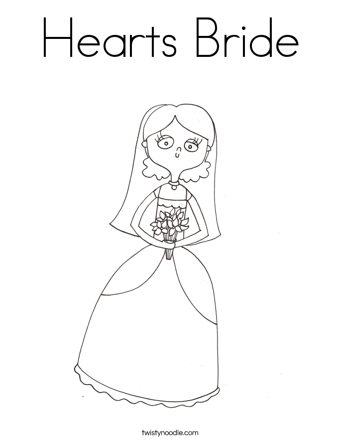 Hearts Bride Coloring Page