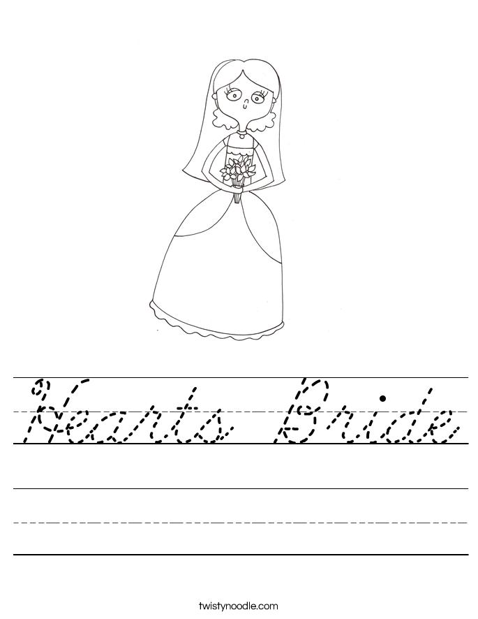 Hearts Bride Worksheet