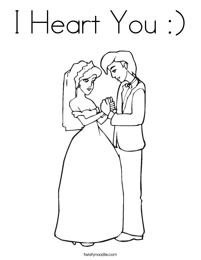 I Heart You :) Coloring Page