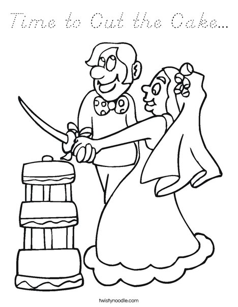 Bride and Groom Cutting Cake Coloring Page