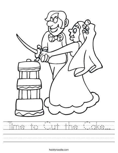 Bride and Groom Cutting Cake Worksheet