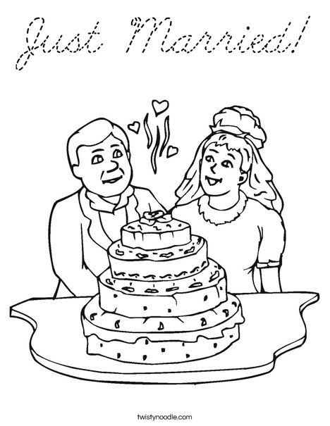 Bride and Groom with Cake Coloring Page