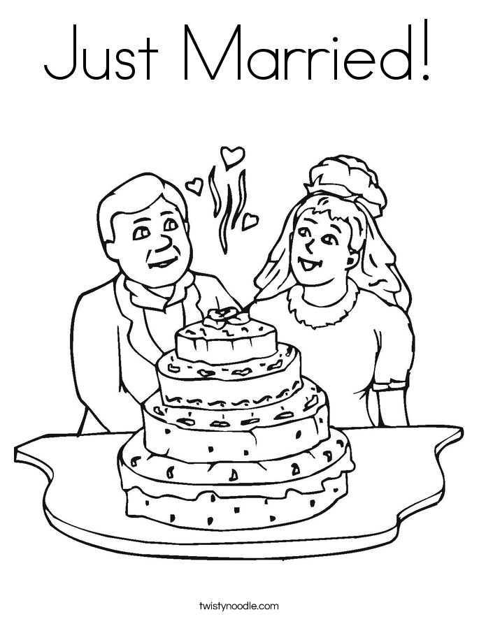 Wedding Cake Coloring Page Twisty Noodle