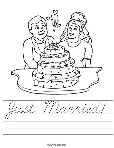 Bride and Groom with Cake Worksheet