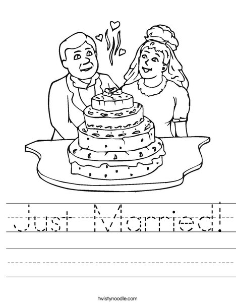 Bride and Groom with Cake Worksheet