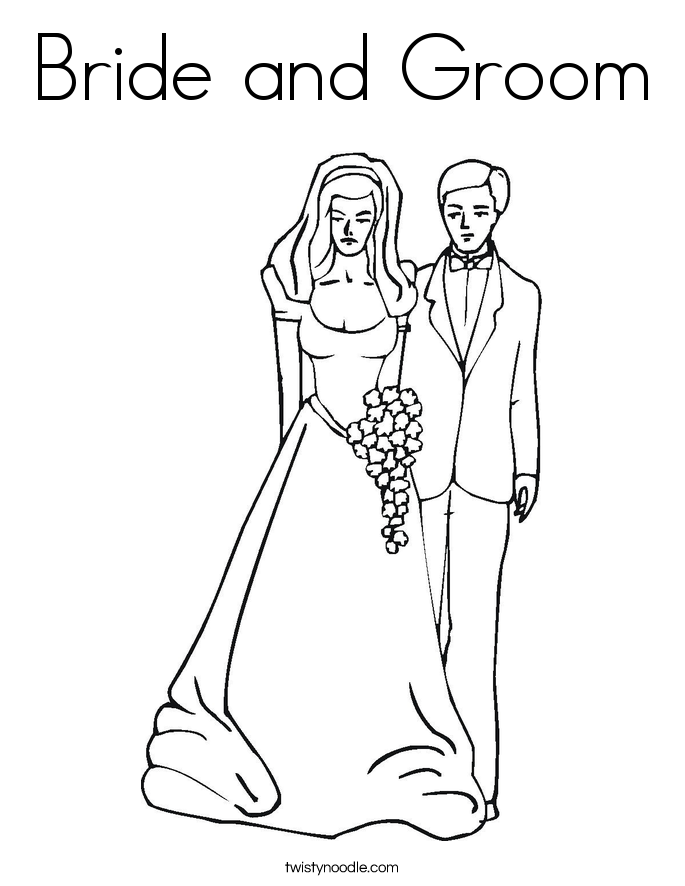 Bride and groom coloring page twisty noodle for Groom coloring pages