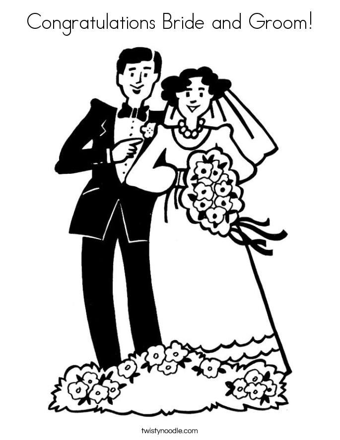 Congratulations Bride and Groom! Coloring Page