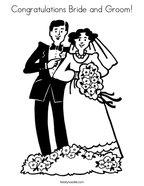 Congratulations Bride and Groom Coloring Page