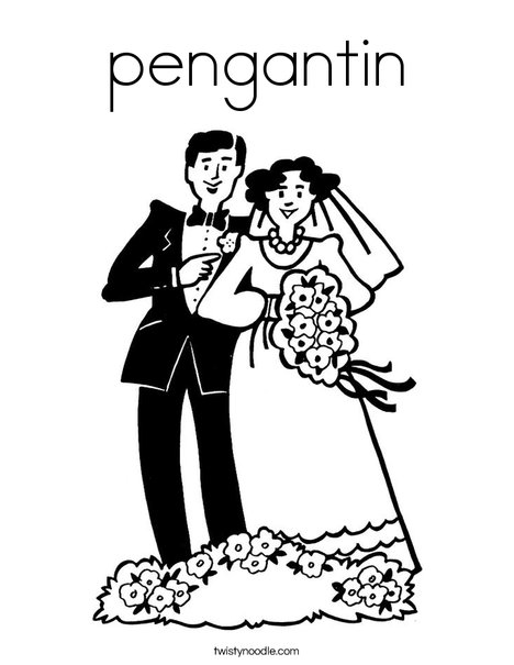 Bride and Groom2 Coloring Page