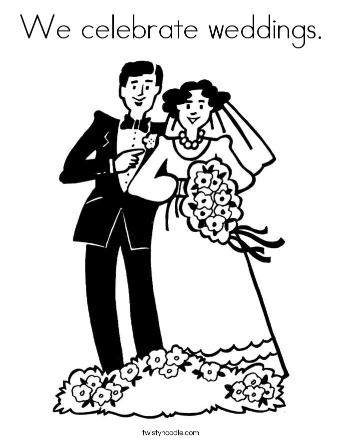 We celebrate weddings. Coloring Page
