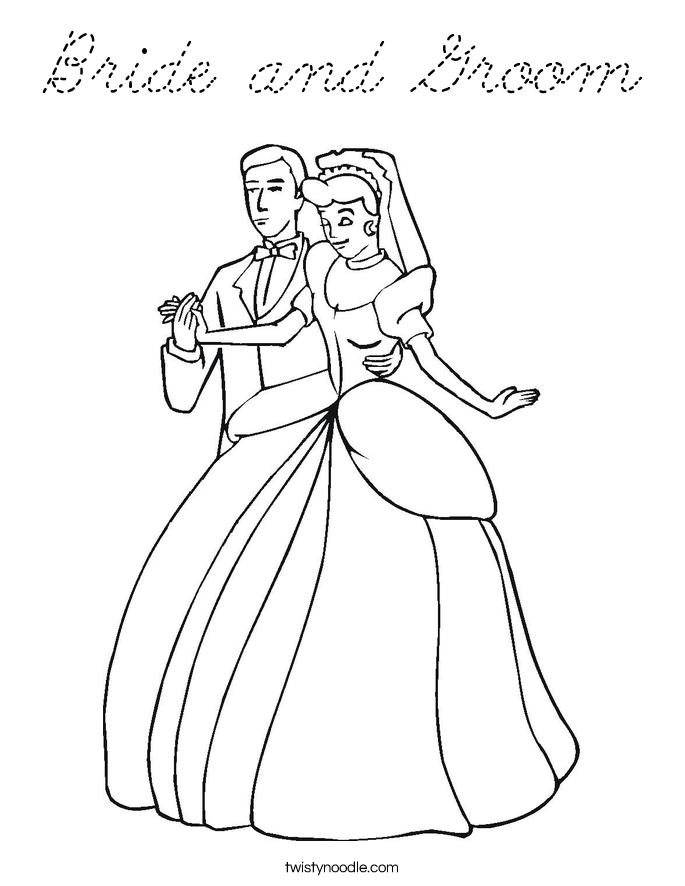Bride and groom free colouring pages for Groom coloring pages