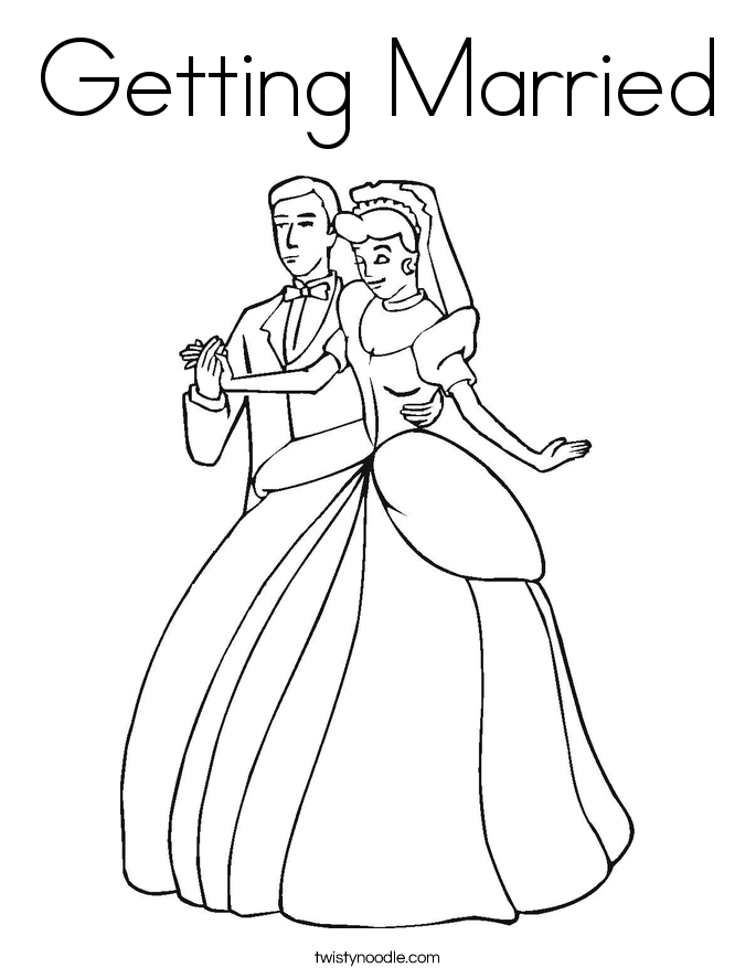 Getting Married Coloring Page