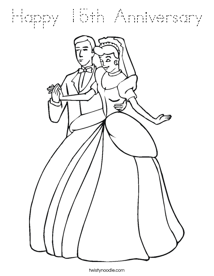 Happy 15th Anniversary Coloring Page