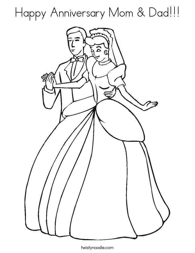 Happy Anniversary Mom & Dad!!! Coloring Page