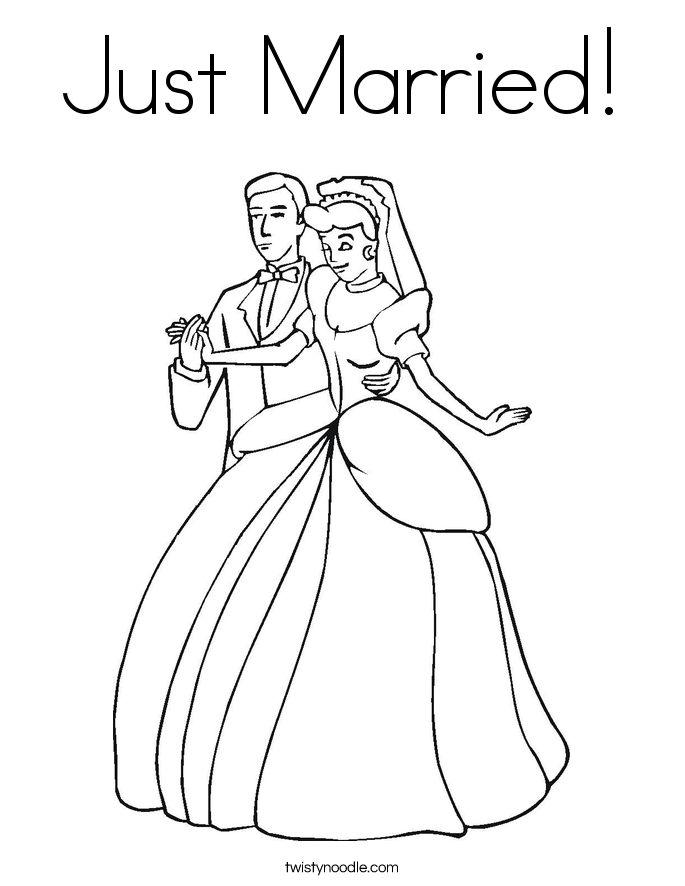 just married coloring page twisty noodle