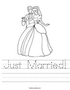 Just Married Handwriting Sheet