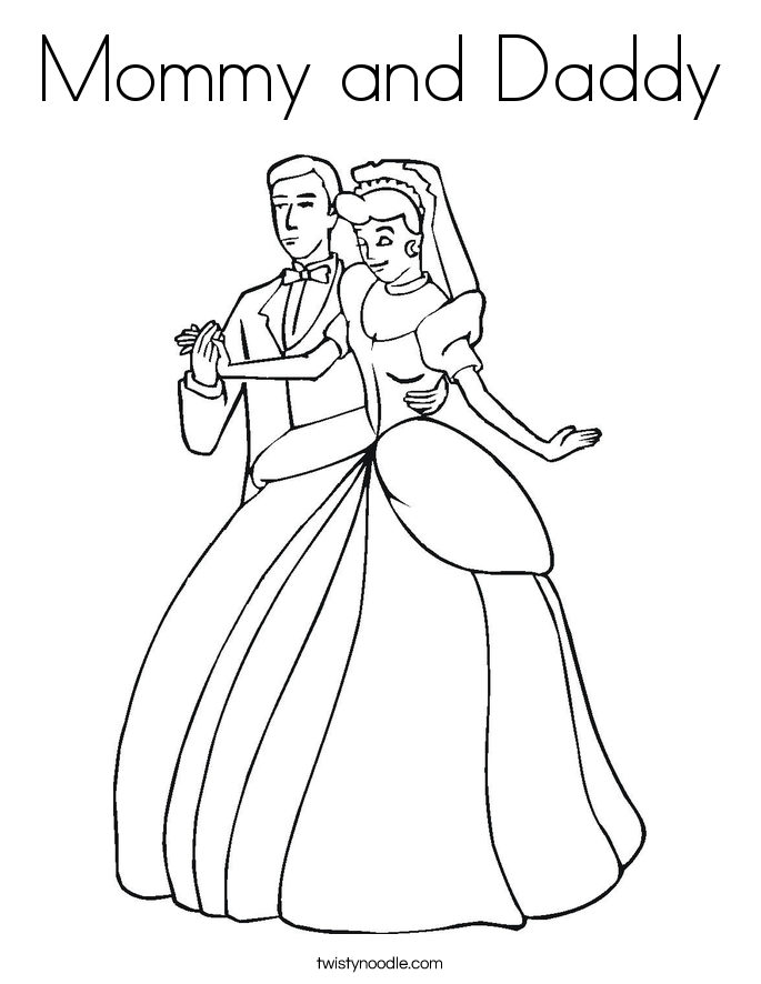 Mommy and Daddy Coloring Page