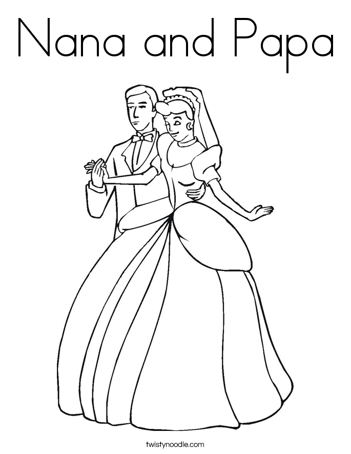 Nana and Papa Coloring Page