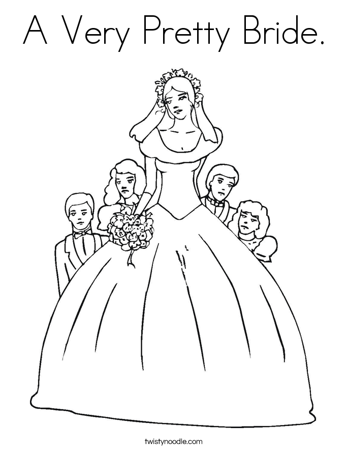 A Very Pretty Bride. Coloring Page