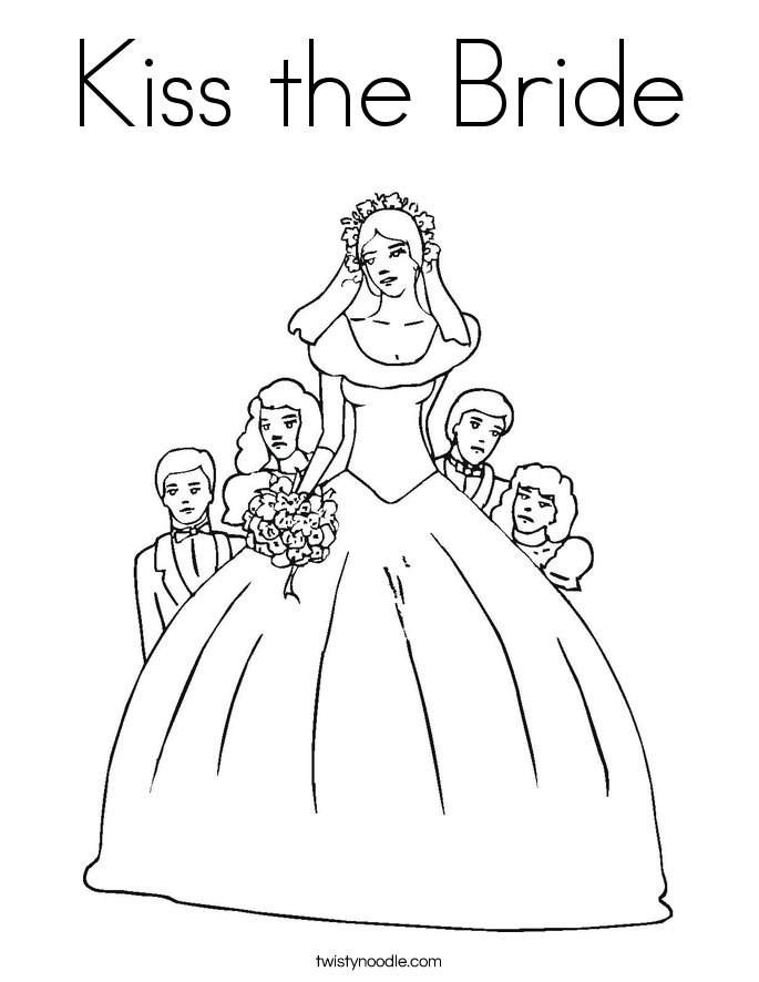 Kiss the Bride Coloring Page
