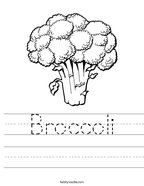 Broccoli Handwriting Sheet