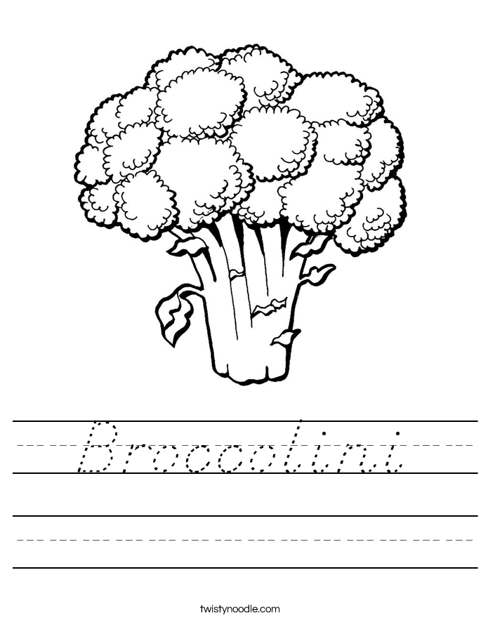 Broccolini Worksheet