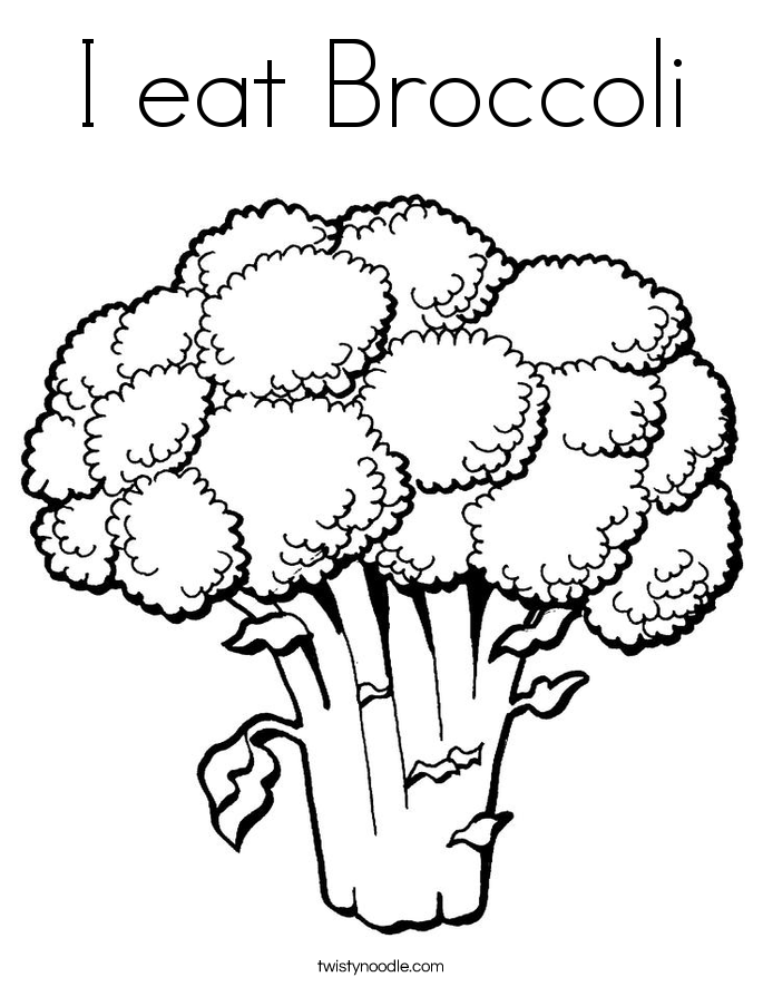 I eat Broccoli Coloring Page