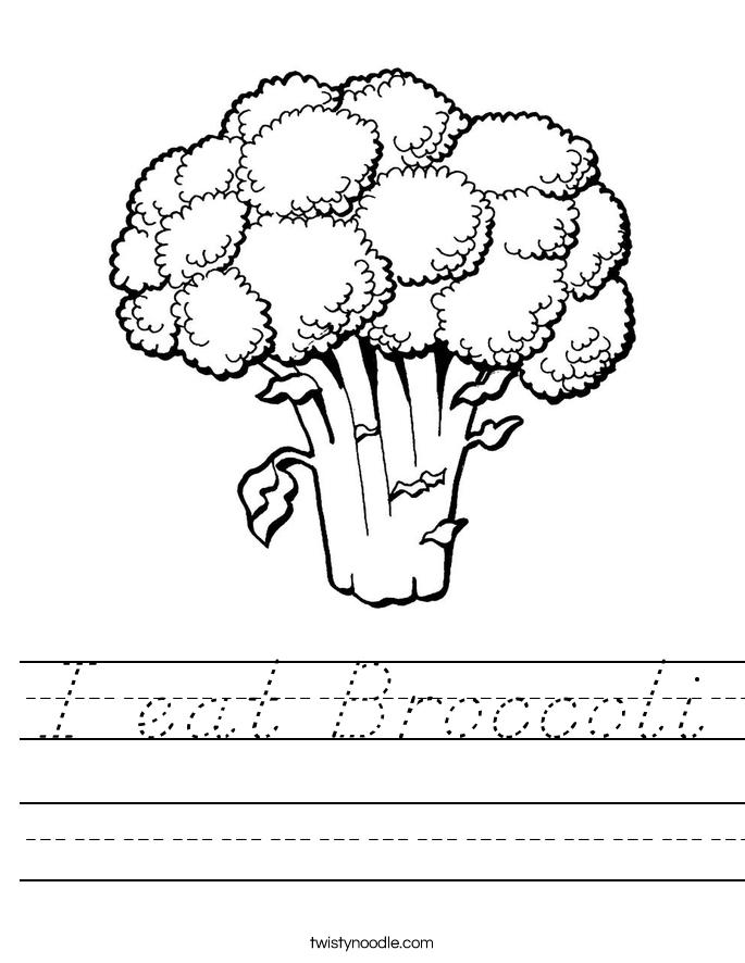 I eat Broccoli Worksheet