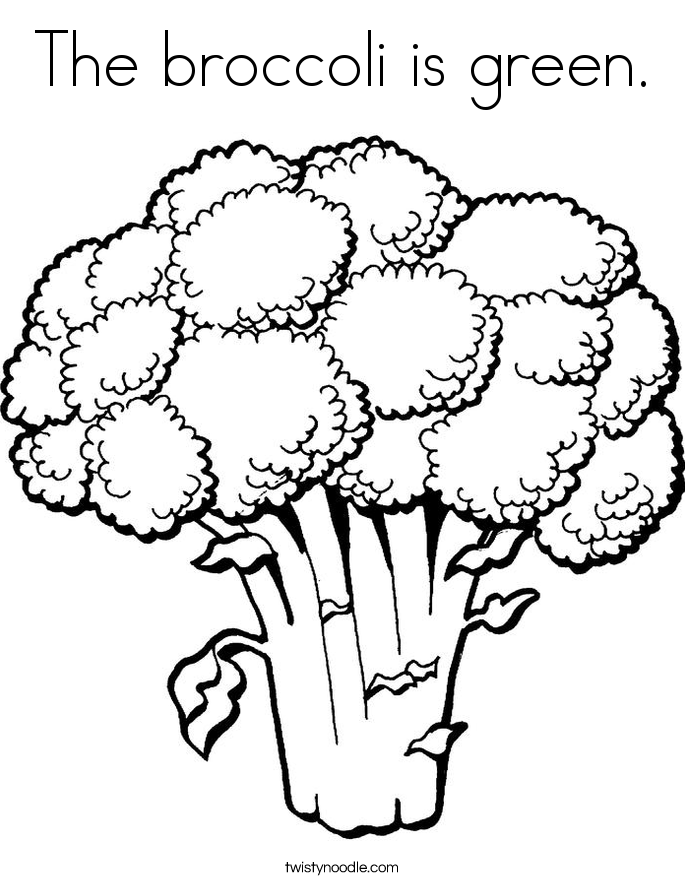 The broccoli is green. Coloring Page