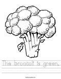 The broccoli is green. Worksheet