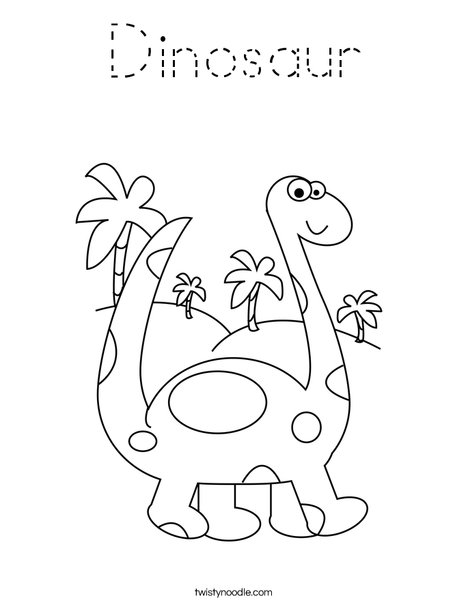 Dinosaur Coloring Page - Tracing - Twisty Noodle
