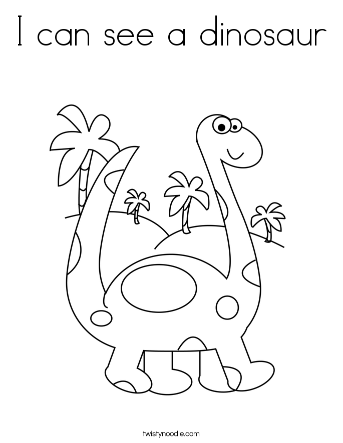I can see a dinosaur Coloring Page