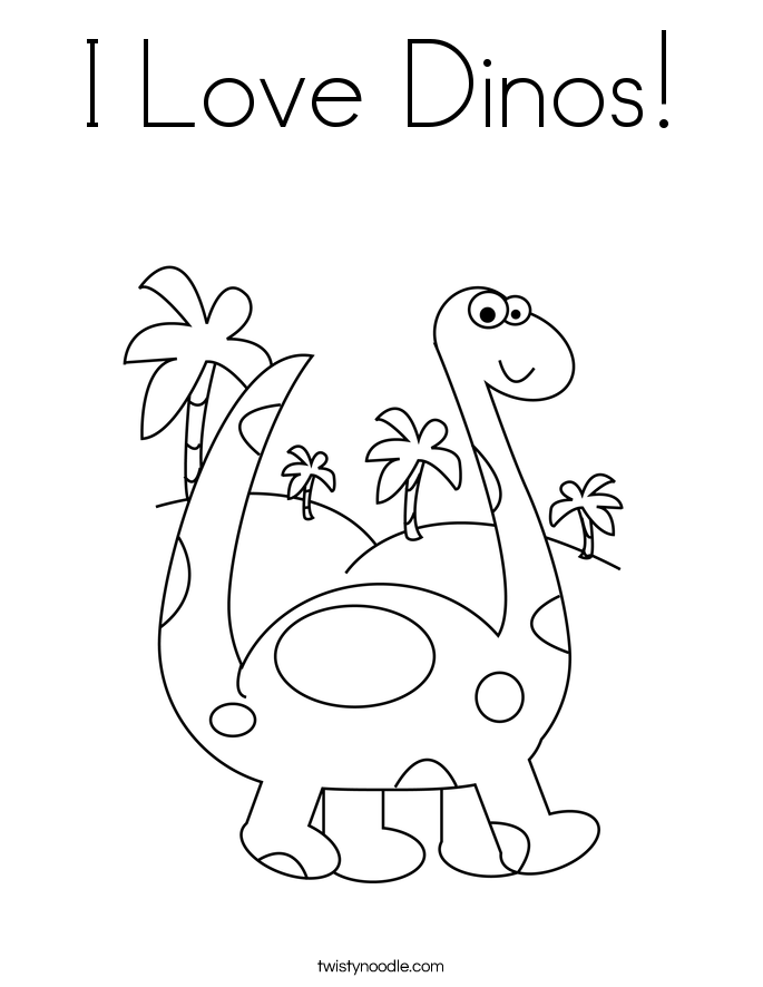 I Love Dinos! Coloring Page