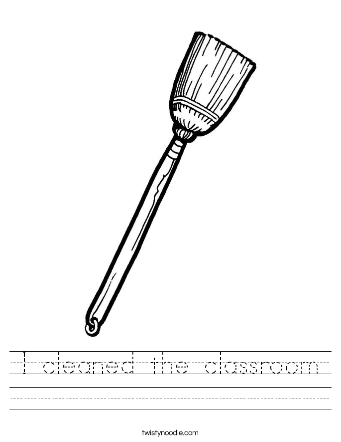 I cleaned the classroom Worksheet